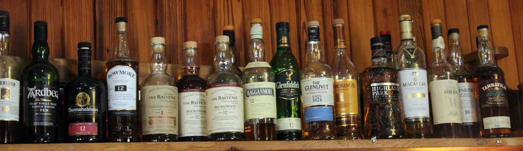 Whisky, rum, gin, vodka